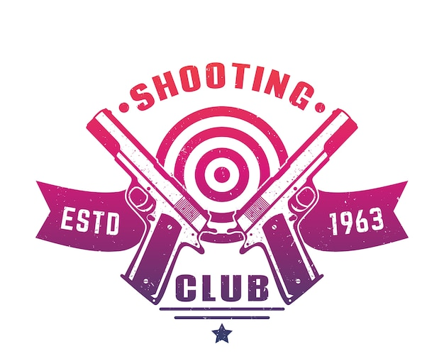 Shooting club logo emblem abzeichen mit zwei pistolen über weiß