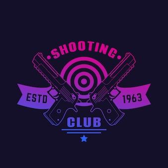 Shooting club logo, emblem mit zwei pistolen, leistungsstarke handfeuerwaffen