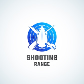 Shooting range abstract symbol-, symbol- oder logo-vorlage.