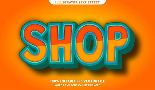 Shop 3d bearbeitbaren textstil-effekt