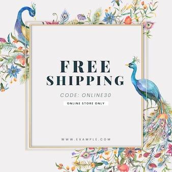 Shop-anzeigenvorlage mit aquarell pfauen und blumen illustration