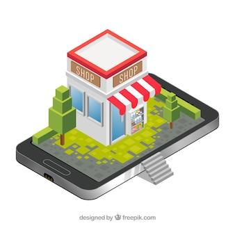 Shop auf dem smartphone-bildschirm