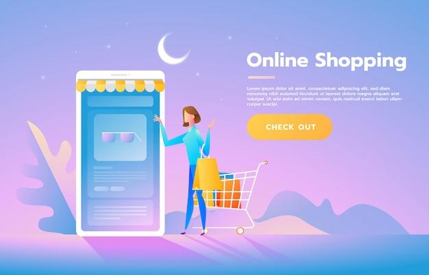 Shop der jungen frau online unter verwendung des smartphone