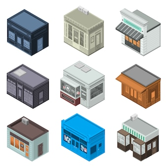 Shop-fassaden-icon-set. isometrischer satz ladenfassaden-vektorikonen für das webdesign lokalisiert auf weißem hintergrund