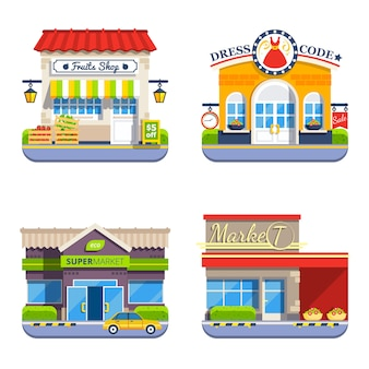Shop-flache bunte ikonen-sammlung