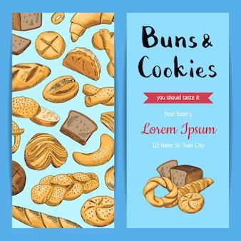 Shop flyer vorlagen mit bäckerei-elementen