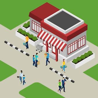 Shop-gebäude und kunden-illustration