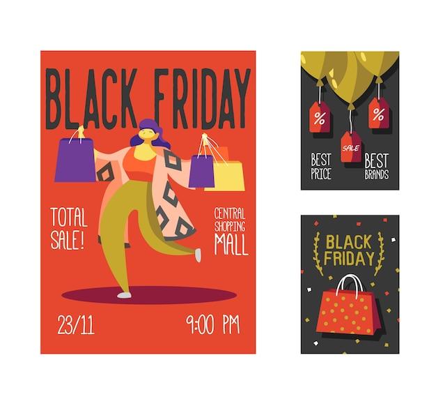 Shop holiday promotion event broschüre mit frau und einkaufstaschen