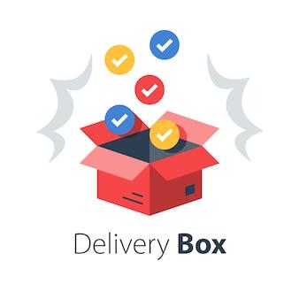 Shop kauf lieferung, offenes bestellpaket, mehrere artikel, großhandelsprodukte, postpaket erhalten, überraschungsbox auspacken, flache illustration