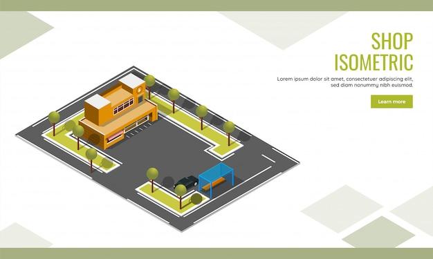 Shop-landingpage oder webplakatdesign mit draufsicht des isometrischen shopgebäudes und des autoparkhintergrundes.