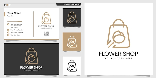 Shop-logo mit schönheitsblumenlinie kunststil und visitenkarten-designschablone premium-vektor