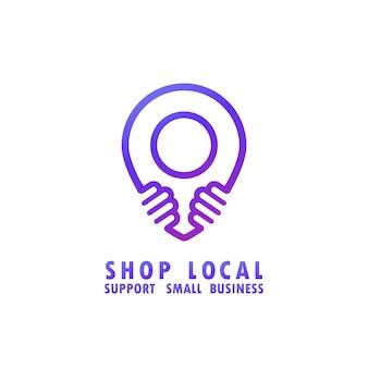 Shop lokales einfaches webbanner mit punktgenauem symbol. unterstützung des lokalen geschäftskonzepts. vektor auf weißem hintergrund isoliert. eps 10