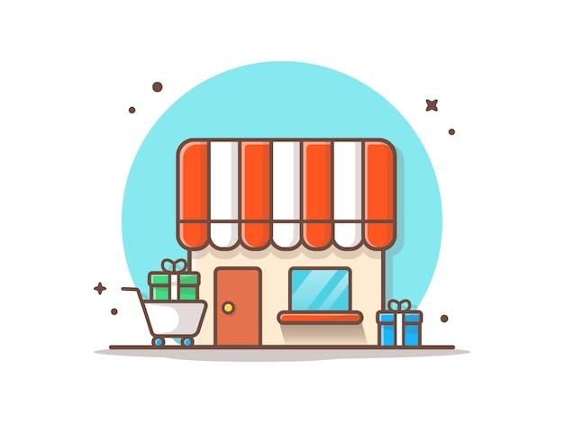 Shop mit geschenk-vektor-ikonen-illustration