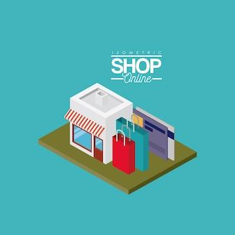 Shop mit gestreiften sonnenschirm rot und weiß mit kreditkarten