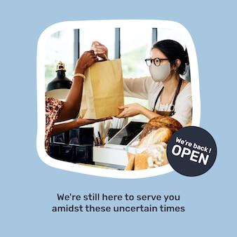 Shop nach lockdown-vektor-social-media-vorlage geöffnet