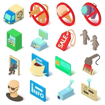 Shop-navigationsnahrungsmittelikonen eingestellt. isopmetrische karikaturillustration von 16 shopnavigationsnahrungsmitteln vector ikonen für netz