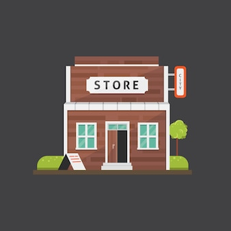 Shop store gebäude illustration. marktaußenseite, städtisches vorderhaus.