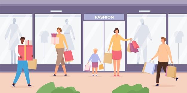 Shop-straße mit menschen. städtische landschaft mit schaufenstern mit schaufensterpuppen und kunden, die mit einkaufstüten gehen, flaches vektorkonzept. illustration straßenladen mit kunden