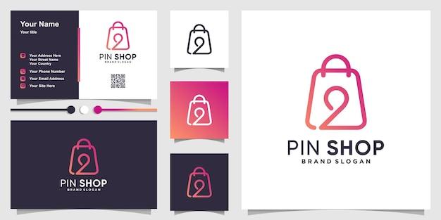Shop-taschen-logo mit kreativem pin-standort-konzept und visitenkarten-design