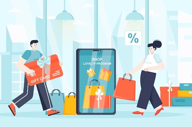 Shop-treueprogramm-konzept in flacher designillustration von personencharakteren für zielseite