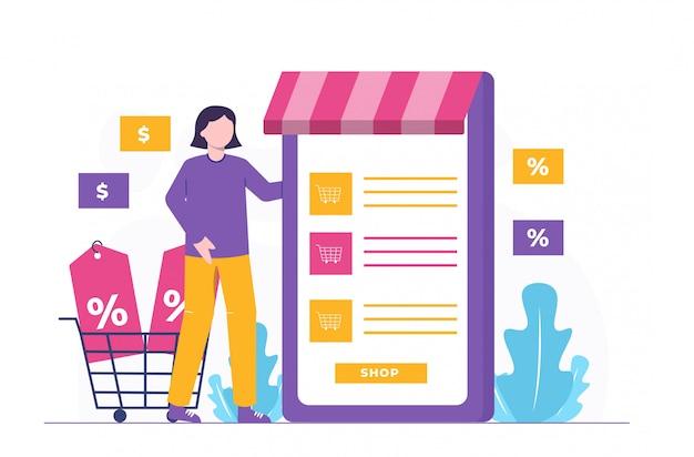 Shop und investition flache illustration