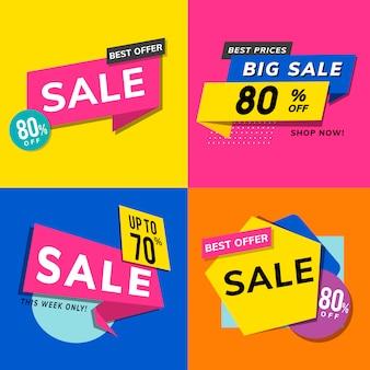 Shop-verkaufsförderungs-anzeigenvektorsatz