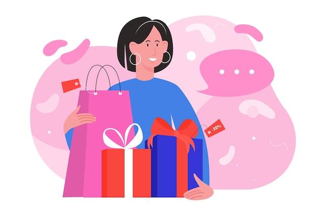 Shop verkaufsillustration. glückliche frau shopper charakter hält geschenkbox und einkaufstasche, shopaholic käufer mädchen kauf geschenk auf saisonalen rabatt verkauf im laden