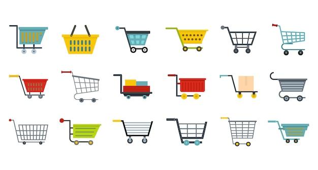 Shop warenkorb icon set. flacher satz der shopwarenkorb-vektorikonensammlung lokalisiert