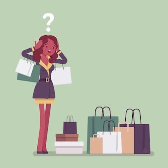 Shopaholic-frau kauft zu viel