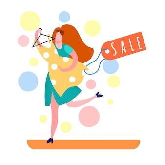 Shopaholic im laden cartoon illustration