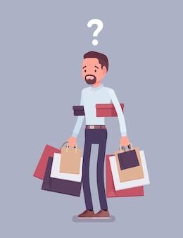 Shopaholic mann kauft zu viel