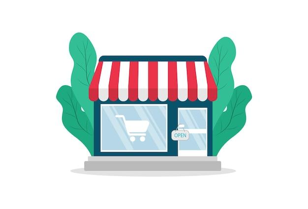 Shoppen sie im flachen stil. laden, minimarkt. illustration.