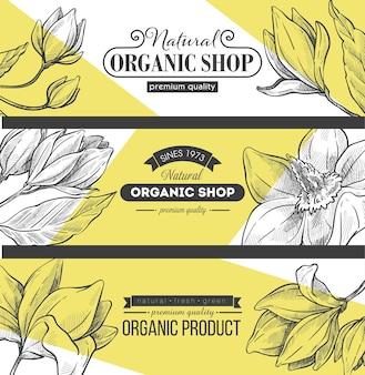Shoppen und lagern sie mit bio-produkten und zutaten. website-banner, internetseiten und online-verkauf. ökologisches einkaufen, hohe premium-qualität. monochrome skizze umriss, vektor im flachen stil