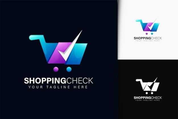 Shopping check-logo-design mit farbverlauf
