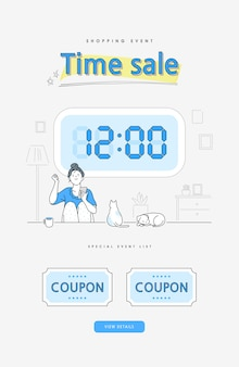 Shopping event line style illustration. banner. aufpoppen