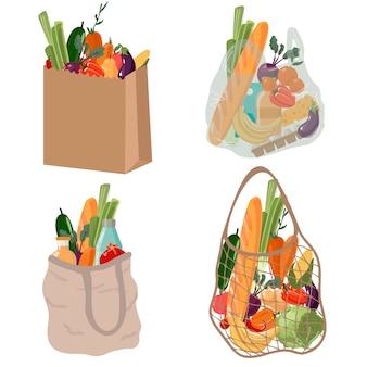 Shopping flache illustrationen gesetzt. lebensmitteleinkäufe, papier- und plastikverpackungen, schildkrötenbeutel.