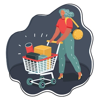 Shopping-frau verbringt zeit mit warenkorb