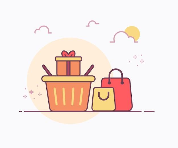 Shopping geschenkkonzept korb um tasche geschenkbox symbol mit weicher farbe durchgezogene linie stil vektor-design-illustration