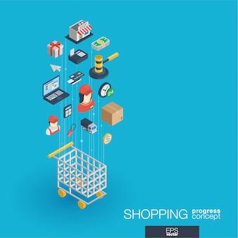 Shopping integrierte web-icons. isometrisches fortschrittskonzept für digitale netzwerke. verbundenes grafisches linienwachstumssystem. abstrakter hintergrund für e-commerce, markt und online-verkauf. infograph