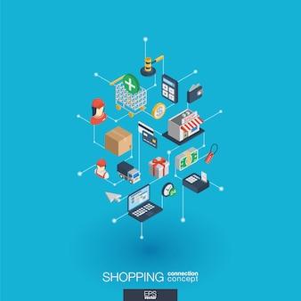 Shopping integrierte web-icons. isometrisches interaktionskonzept für digitale netzwerke. verbundenes grafisches punkt- und liniensystem. abstrakter hintergrund für e-commerce, markt und online-verkauf. infograph