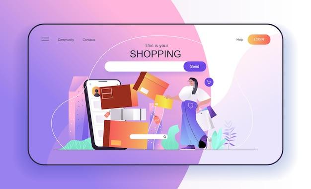 Shopping-konzept für landingpage-frau kauft online-shopper macht einkäufe