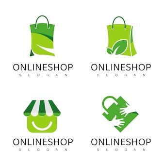 Shopping-logo-design-vorlage, bio, natur, kräuterladen logo
