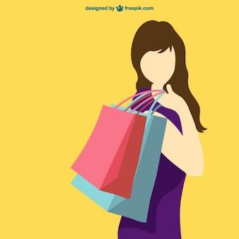 Shopping-mädchen vektor-silhouette