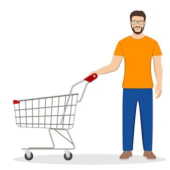 Shopping-mann mit einem einkaufswagen