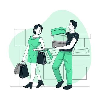 Shopping (nicht online) konzeptillustration