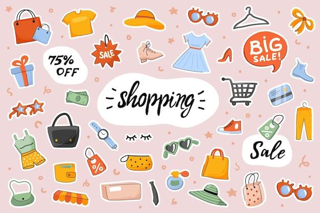 Shopping niedliche aufkleber vorlage scrapbooking elemente gesetzt