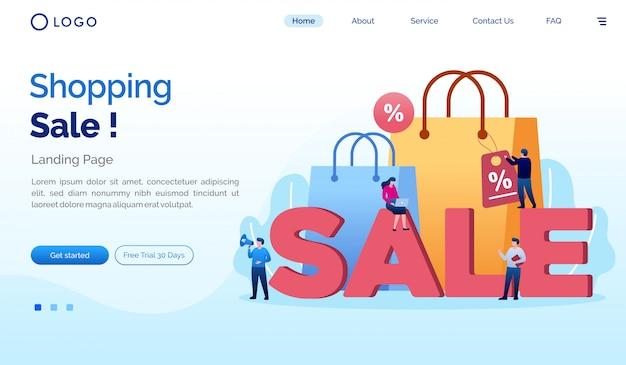 Shopping sale landing page website flache vorlage
