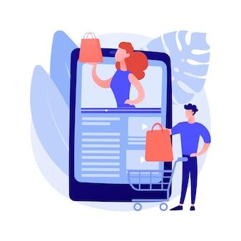 Shopping sprees video abstrakte konzeptillustration