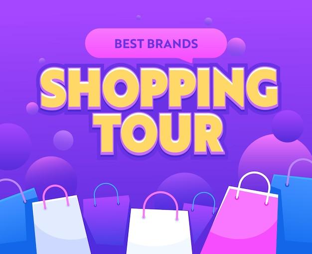 Shopping tour banner mit bunten papiertüten. best brands sale travel, werbung für total clearance promotion, börsenrabatt, shopaholic touristic service billboard. vektorillustration