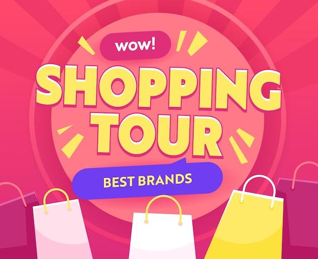 Shopping tour banner mit bunten papiertüten. börsenrabatt, shopaholic touristic service billboard. beste marken-verkaufsreisen, werbung für die gesamtabverkaufsförderung. vektorillustration